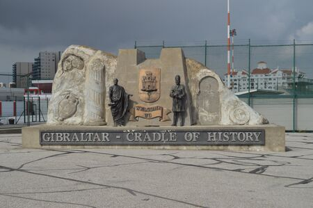 Entrance Monument To El Pe? ? on In Gibraltar. Nature, Architecture, History, Street Photography. July 10, 2014. Gibraltar, Great Britain.