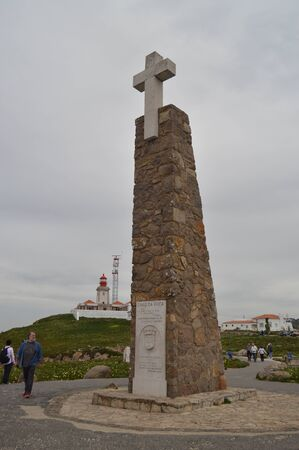 Monument With A Cross On Its Top On The Cliff At Cabo De La Roca In Sintra. Nature, architecture, history. April 13, 2014. Cabo De La Roca, Sintra, Lisbon, Portugal.