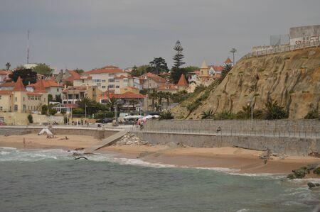 April 15, 2014. Estoril, Cascais, Sintra, Lisbon, Portugal. Nice Shot Of Poca Beach On A Cloudy Day On The Coast Of Estoril. Travel, Nature, Landscape.