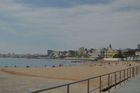 April 15, 2014. Estoril, Cascais, Sintra, Lisbon, Portugal. Bathers On The Beach Of Poca On The Coast Of Estoril. Travel, Nature, Landscape. 新聞圖片