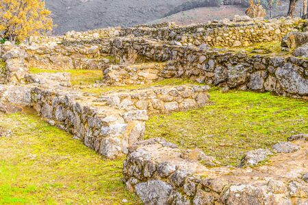 Ruins Of The Houses Inside The Walls Dated In The Iron Age In The 3rd Century BC In The Castro Veton De El Freillo. Archivio Fotografico