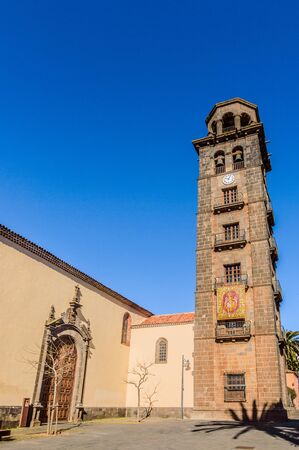 Matrix Parish of Our Lady of the Conception Dated in the 15th century It is composed of a Tuscan Style bell tower. April 13, 2019. La Laguna, Santa Cruz De Tenerife Spain Africa. Travel Tourism Street Photography.
