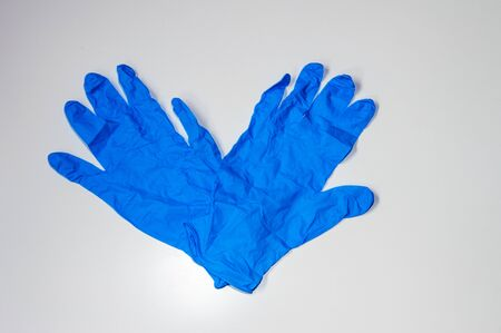 Blue Gloves Used As Individual Protective Equipment To Not Get Covid-19. Also Known As Coronavirus. Banco de Imagens
