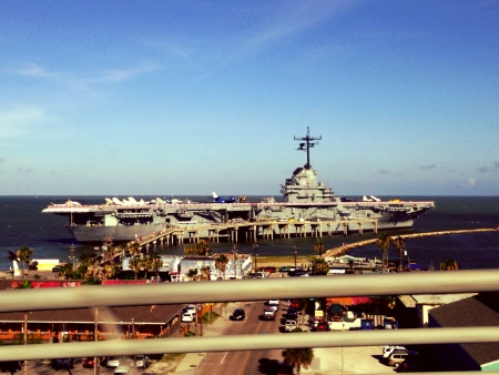 corpus: USS LEXINGTON at Corpus Christi TX. Stock Photo