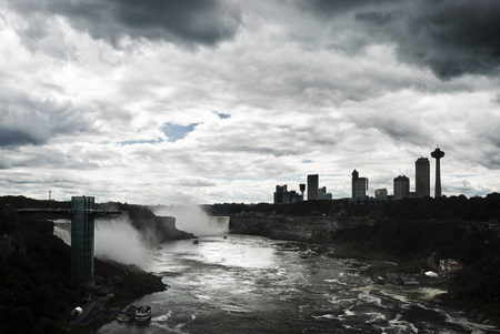 niagara river: View of Niagara river and waterfalls from the bridge linking the United States with Canada Stock Photo