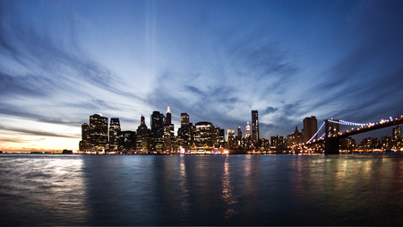 Skyline of New York at sunset photo