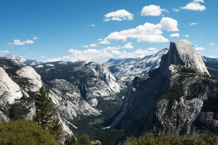 high sierra: Panoramic view of the Half Dome at the Yosemite Valley. Stock Photo
