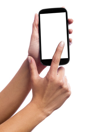 Photo isolated in white of a hand of a caucasian woman, touching the touch screen of a smartphone with white screen photo