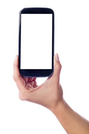 Photo isolated in white of a hand of a caucasian woman, holding a smartphone with white screen photo