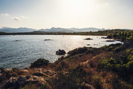 panoramic view of a creek, Cala Brandinchi, Sardinia, Italy