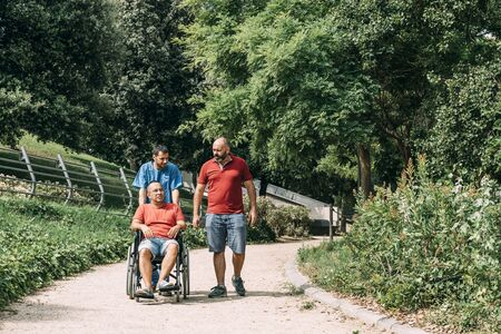 disabled man in a wheelchair walking with his caretaker and a friend at park, concept of medical care and rehabilitation of people with disabilities and reduced mobility problems