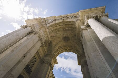 arch of Rua Augusta seen from below, portuguese famous landmark and tourist attraction at Lisbon, Portugal