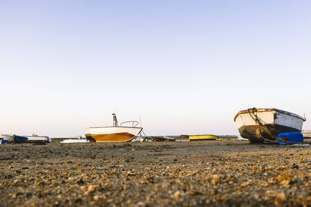 wooden boats on the beach, marine lifestyle concept