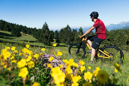 man taking a break on his mountain bike in a flower meadow, sport concept and healthy lifestyle in nature