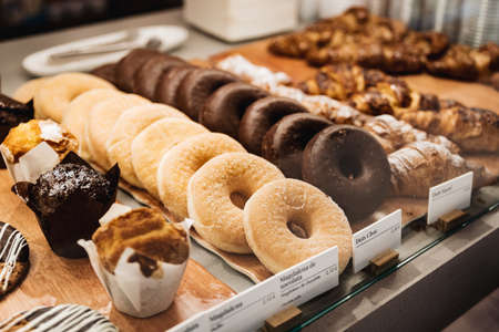Assortment of donuts in a bakery Stockfoto