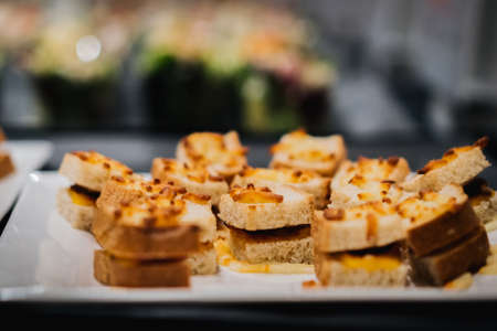 assortment of canapés exposed in a restaurant