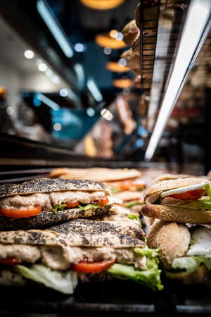Assortment of healthy sandwiches in a bakery