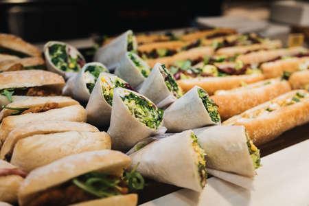 Vegan Sandwiches exposed in a restaurant