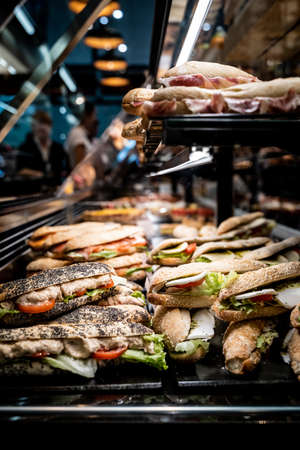 Assortment of healthy sandwiches in a shopwindow