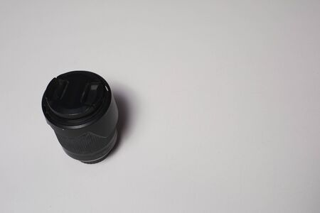 Photographic lens on white and clear background, Love photography
