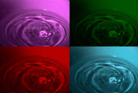 Illustration with four photos of water drops, red, cyan, green and magenta Reklamní fotografie