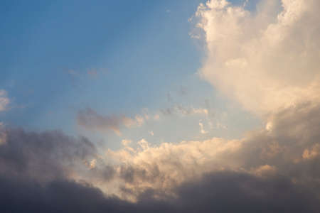 Blue sky full of white clouds, bright blue sky
