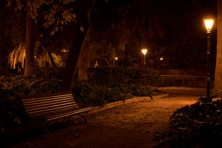 Lonely bench, in a park at night, streetlights, autumn, warm