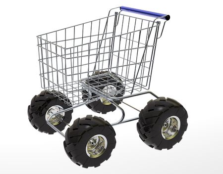 wag: Shopping Cart with big off-road tires isolated in white background. Stock Photo