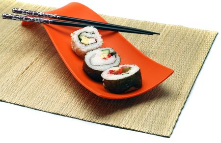 hashi: Sushi, Japanese food in a bowl and hashi.