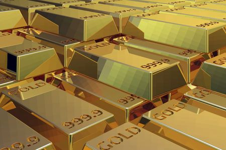 raw gold: 3D ilustration of a pile of Gold bars raw lined.
