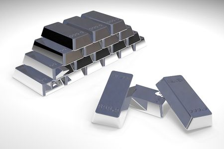 Pile of Silver bars in white background photo