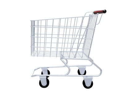 empty shopping cart: Empty shopping cart isolated in white background. Stock Photo