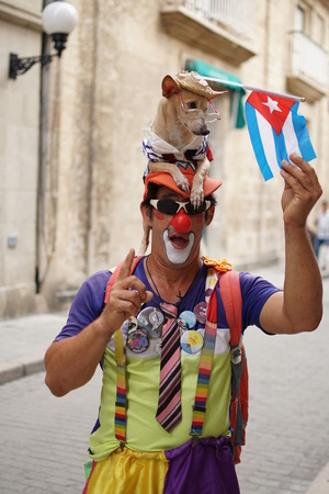 Two Charismatic Clown and Dog of the Boulevar Obispo in Havana