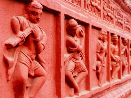 haryana: Sculptures on the wall, at Surajkund Fair, Haryana, India Stock Photo