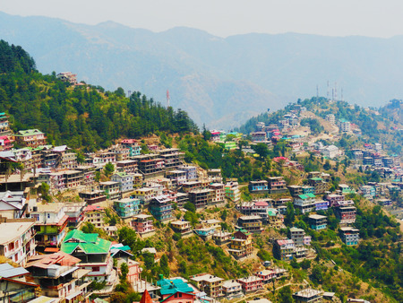 himachal pradesh: View of Shimla City From The State of Himalaya, mountains