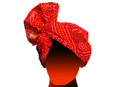 punjabi: Red Punjabi Turban Stock Photo