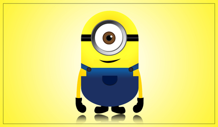 me: Minions from Despicable Me 2 Animated 3D on Yellow Background Stock Photo