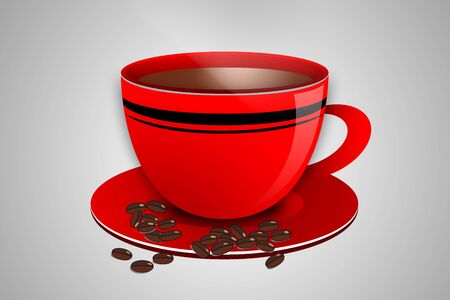 stimulate: Cup of Coffee on Red Plate with Coffee Beans