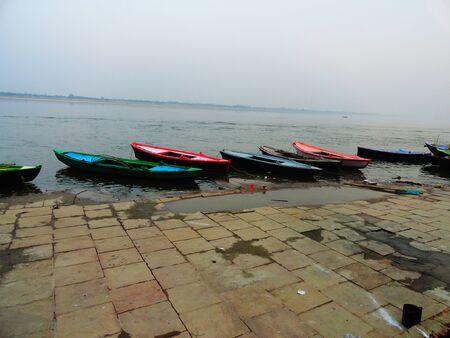 varanasi: Evening at Banaras holy Ghats, India, Ganges River Varanasi