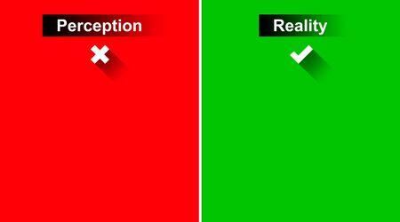 percepci�n: Percepci�n y Realidad con marcas de graduaci�n en el fondo verde y rojo