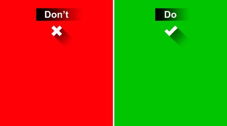 screen partition: Do and Dont with Tick marks on Green and Red Background