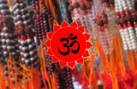 devotional: Ohm Symbol on Rudraksha BG, Hindu Devotional Stock Photo
