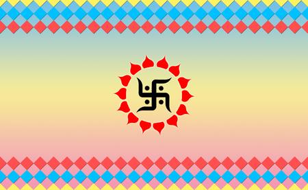 devotional: Holy Swastik sign on Cool BG, Hindu Devotional Stock Photo