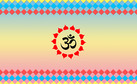 zen aum: Holy Ohm sign on Cool BG, Hindu Devotional Stock Photo