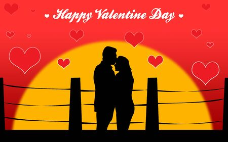 pink roof: Couple Hugging Each Other in Beautiful Valentine Day Special Greeting Stock Photo