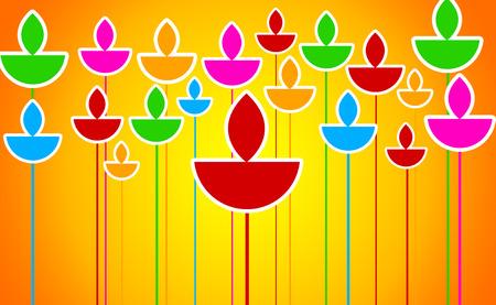 diyas: Colorful Diyas Illustration on Orange Background