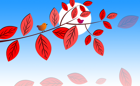two birds: Two Birds sitting on Tree Branches with Beautiful Red Leaves and Moon Illustration