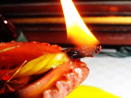 diyas: Traditional Clay Diyas Lighting During Diwali Celebration in India