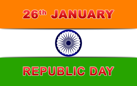 bharat: Indian Republic Day Wallpaper Vector Illustration with Ashoka Chakra