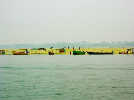 ganges: Evening at Banaras holy Ghats, India, Ganges River Varanasi